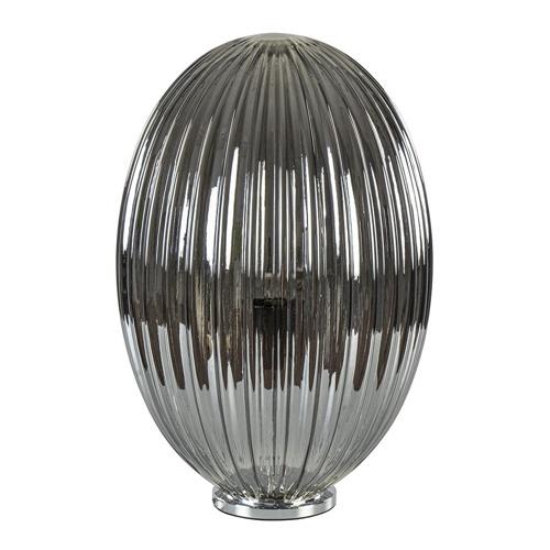 Smoke glazen tafellamp met chromen voet