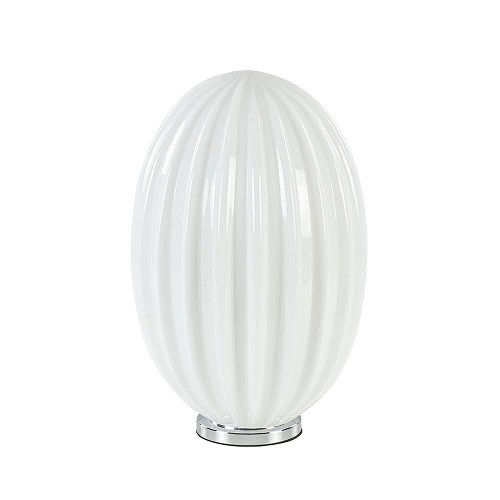Ovale tafellamp art deco chroom met opaal glas