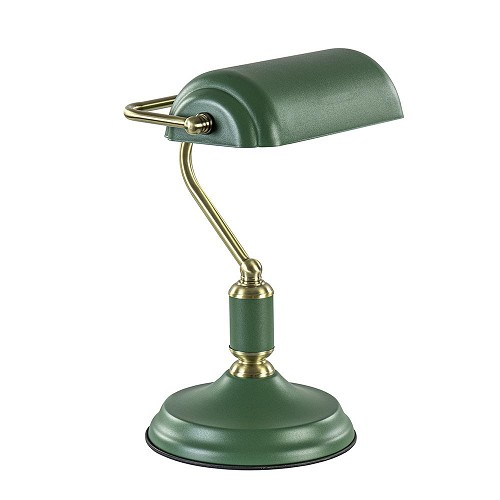 Klassieke tafellamp bankier groen met antiek goud