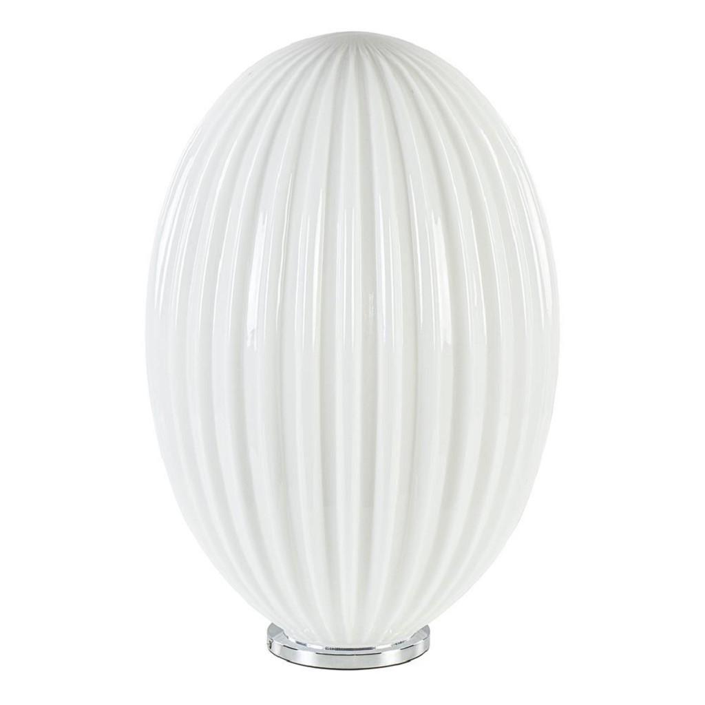 Art Deco tafellamp chroom met opaal glazen kap