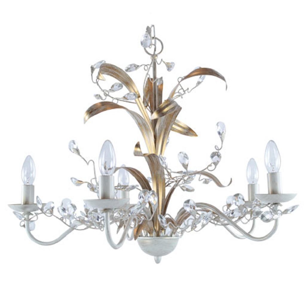 Kroon hanglamp creme/goud woonkamer