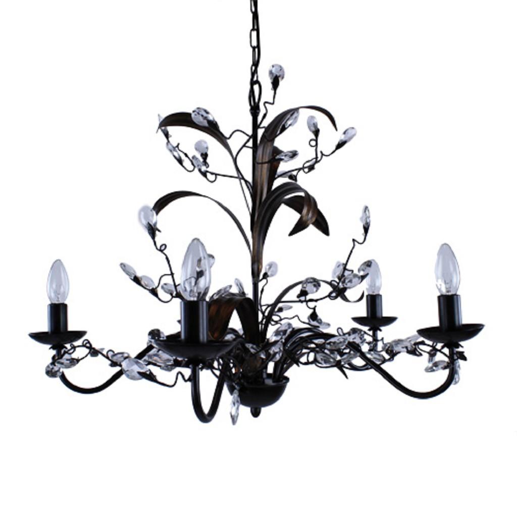 Kroon hanglamp zwart/bruin woonkamer