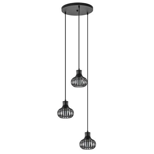 Ronde 3-lichts hanglamp mat zwart met kleine kappen