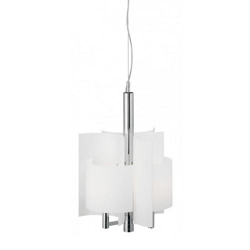 *Hanglamp klein nikkel, wit glas