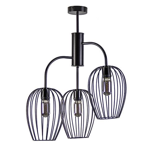 3-Lichts plafondlamp met korven zwart