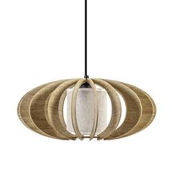 Houten hanglamp rond met binnenkap