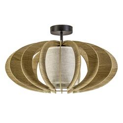 Plafondlamp hout met stoffen kap 50cm