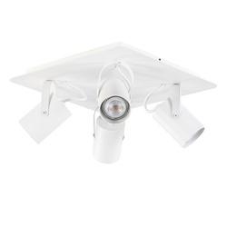 Vierkante plafondspot wit 4-lichts