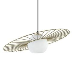 Hanglamp zwart/goud met rond wit glas