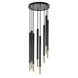Ronde 8-lichts hanglamp cilinders zwart goud