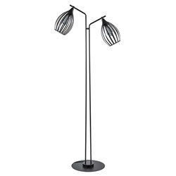 2-Lichts vloerlamp mat zwart met ovale draadkappen