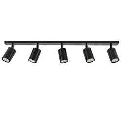 Langwerpige GU10 5-lichts opbouwspot mat zwart