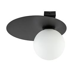 Retro plafondlamp zwart met wit glas
