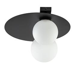 Plafondlamp zwart met 2 witte bollen