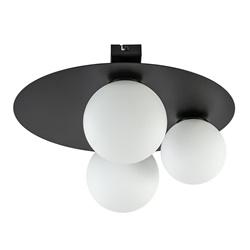 Plafondlamp zwart met 3 witte bollen