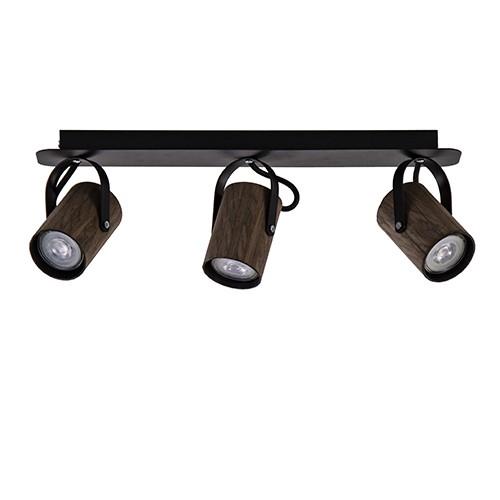 Spot balk 3-lichts wenge hout/zwart gu10