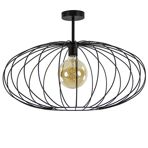 Grote draad plafondlamp zwart 60 cm