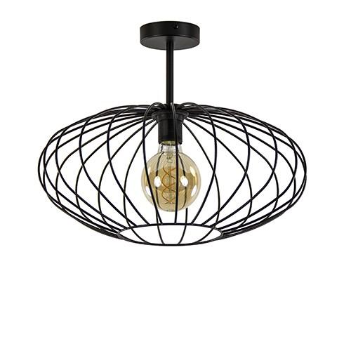 Ronde draadlamp-plafondlamp zwart 42,5cm