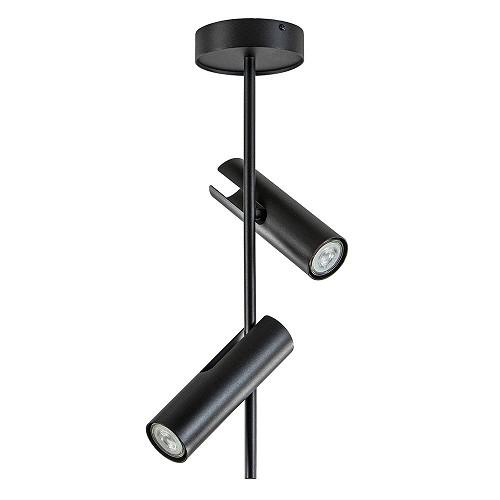Moderne 2-lichts opbouwspot zwart verstelbaar