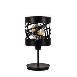 Moderne zwarte tafellamp rond metaal