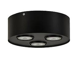 Zwarte ronde plafonnière/spot 3-lichts