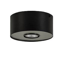 Ronde plafondlamp-spot zwart/alu klein