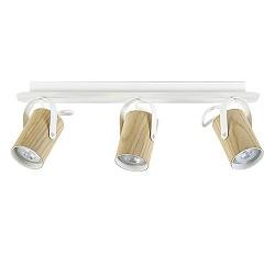 Spot balk 3-lichts essen hout/wit gu10