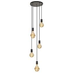 5-lichts vide hanglamp met grote pendels
