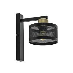 Landelijke wandlamp zwart/goud met ronde kap
