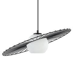 Retro hanglamp zwart met wit glazen kap