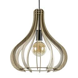 Landelijke hanglamp hout naturel met zwart