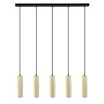 *5-lichts eettafelhanglamp hout en zwart