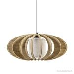 Houten hanglamp met kunststof kap