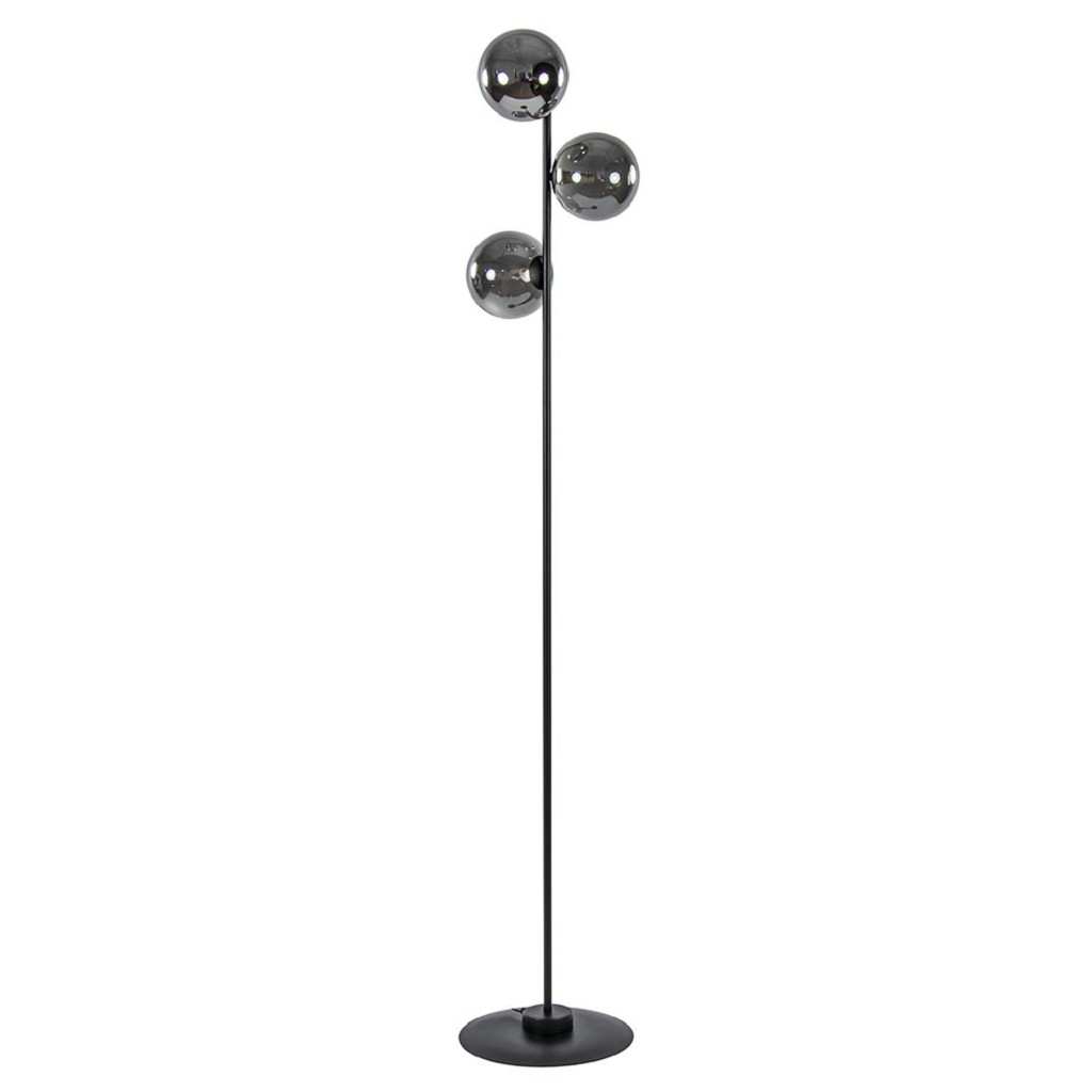 3-Lichts vloerlamp zwart met smoke glazen bollen