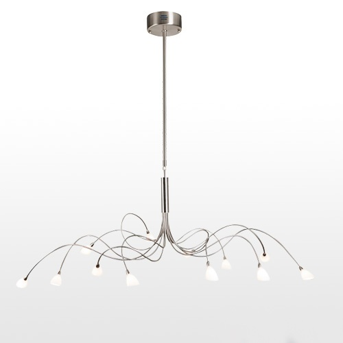 Hanglamp nikkel met wit glas eettafel