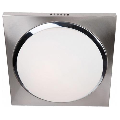 Plafondlamp vierkant nikkel/wit IP44