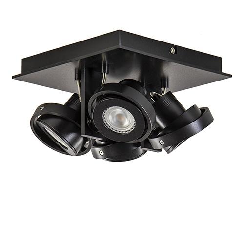 Vierkante LED plafondlamp 4-lichts zwart