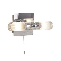 Chromen wandlamp met glas IP44 modern