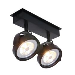 Industriële plafondspot zwart 2-lichts LED