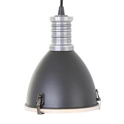 Kleine hanglamp industrie mat zwart met metalen klos
