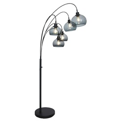 Zwarte metalen vloerlamp met 5 grijze plexikappen