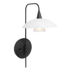 Dimbare LED wandlamp zwart met witte schotel