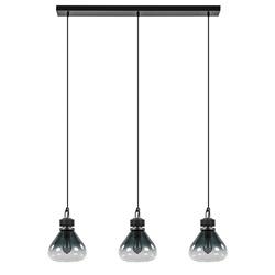 Industriële eettafelhanglamp zwart met glazen kappen
