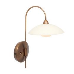 Klassieke wandlamp brons met creme glas incl LED