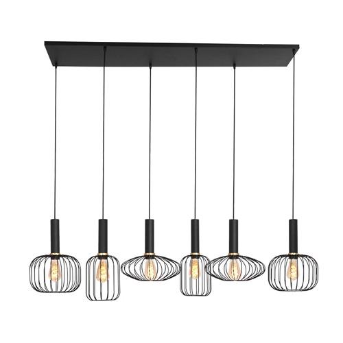 6-Lichts eettafelhanglamp draad zwart met goud