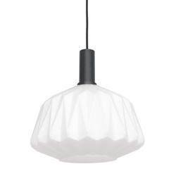 Hanglamp mat wit opaal glas met origami look
