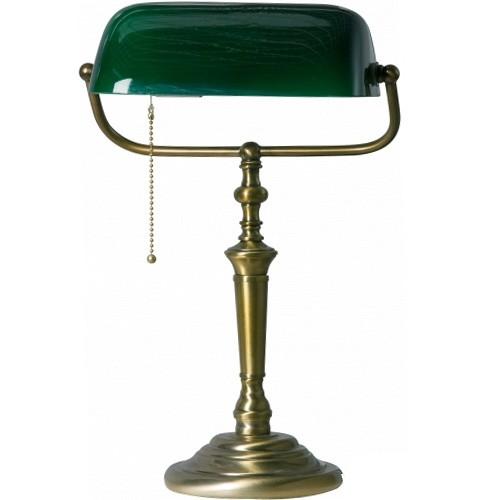 Klassieke bankierslamp groen met Brons