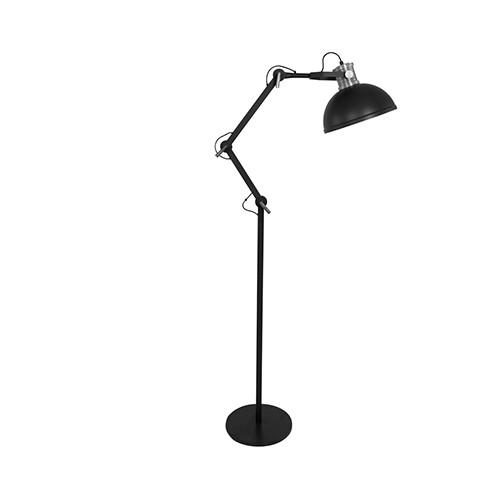 Zwarte industri le vloerlamp woonkamer straluma for Industriele vloerlamp