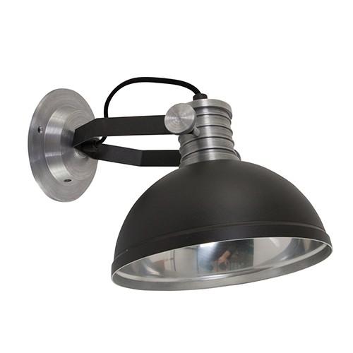 **Industriële wandlamp zwart staal bedla