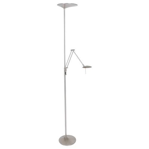 Moderne LED uplighter met leeslamp geborsteld staal